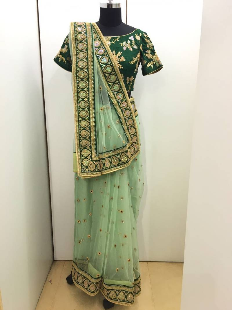 Buy Green Embroidered Net Saree With Blouse Online