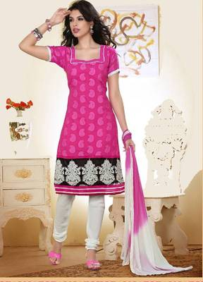 Dazzling Pink and Off White Salwar Kameez