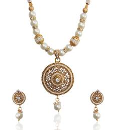 Buy Ethnic Indian Jewelry Bollywood Circle Pearl Polki Glowing Necklace Set tds d8 diwali-jewellery online