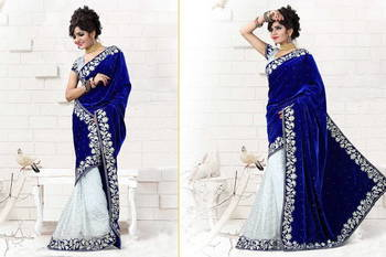 DESIGNER ROYAL BLUE VELVET SAREE WITH BLOUSE (PREMIUM QUALITY )