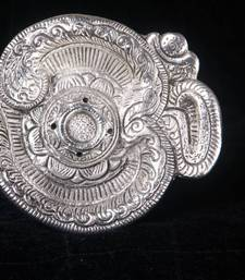 Buy Om Shaped Agarbatti Stand/dhoop dani in silver coated metal. MuHeNeRa presents Athish collection 550 wedding-gift online