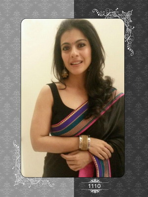 Kajol in black georgette saree