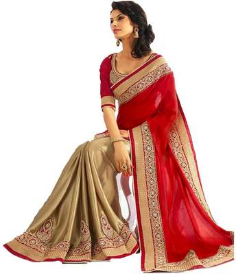 ddea499369 Red embroidered faux georgette saree with blouse - Global Corporation -  1475224