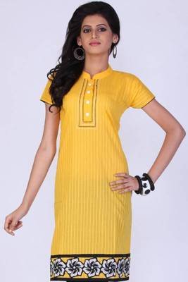 Mustard Yellow Cotton Embroidered Party and Festival Kurti