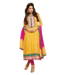 Buy Yellow embrodaired gerogette semistiched salwar with dupatta semi-stitched-salwar-suit online