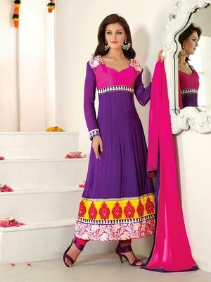NeelFab Purple Semistitched Anarkali Suit