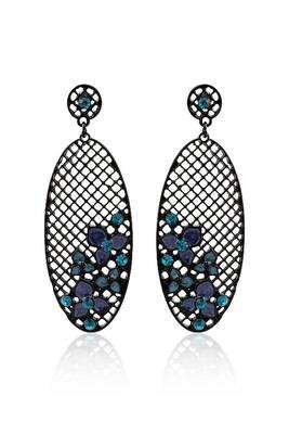 Just Women Metal Mesh Stone Studed earrings