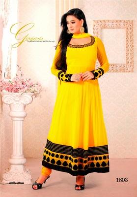 NeelFab Yellow Semistitched Anarkali Suit