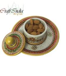 Buy eCraftIndia Designer Round Tray with 1 Container tray online