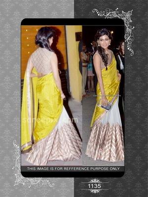 Chitrangada yellow and cream designer saree