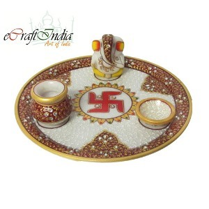 eCraftIndia Designer Marble Pooja Thali with Swastik
