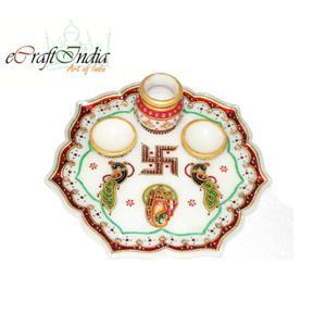 eCraftIndia Decorative Pooja Thali with Swastik and Peocock