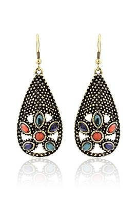 Just Women Greek Style mettalic pear shaped Earrings