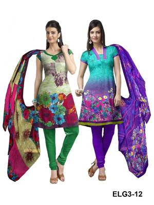 Riti Riwaz green-purple printed dress material with dupatta ELG3-12