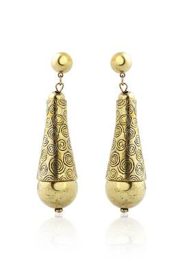 Just Women Golden color metal Aztec earrings