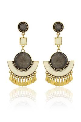 Just Women Grey Stone & Brown Zingara Earrings