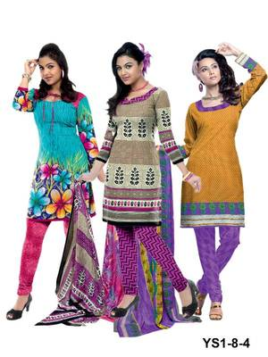 Riti Riwaz green-beige-orange printed dress material with dupatta YS1-8-4