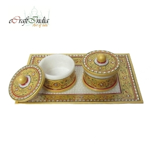 eCraftIndia Floral Decorative Container-Tray