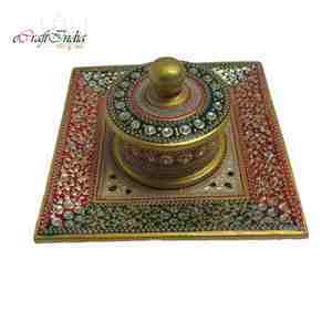 eCraftIndia Embossed Multicolored Square Container-Tray