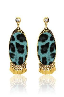 Just Women Printed Tribal Oval Shaped Earrings