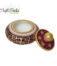Buy eCraftIndia Round Sindoor Holder (Red) other-home-accessory online