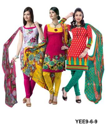 Riti Riwaz white-pink-red printed dress material with dupatta YEE9-6-9