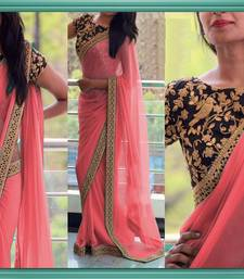 Buy Light peach embroidered georgette saree with blouse georgette-saree online