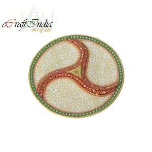 eCraftIndia Embossed Dry-Fruits Marble Plate