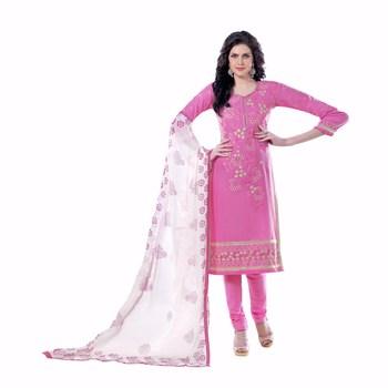 Pink cotton embroidered unstitched salwar with dupatta