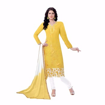 Yellow cotton embroidered unstitched salwar with dupatta