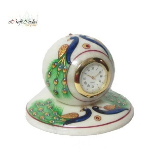 eCraftIndia Peocock Designed Marble Table Clock