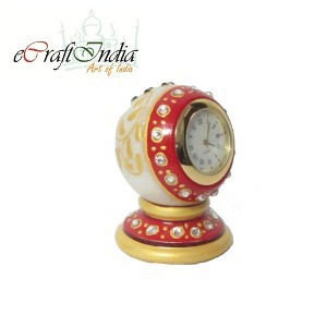 eCraftIndia Faux Crystal Studded Marble Table Clock