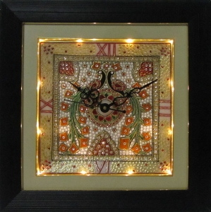 eCraftIndia Peocock Designed Marble Wall Clock with LED and Wooden Frame