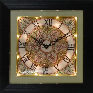eCraftIndia Flower Decorated Marble Wall Clock with LED and Wooden Frame