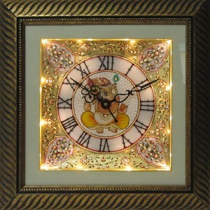 eCraftIndia Flower Decorated Marble Wall Clock with Lord Ganesha