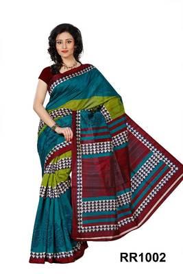Riti Riwaz green art silk saree with unstitched blouse RR1002