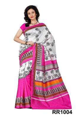 Riti Riwaz white-pink art silk saree with unstitched blouse RR1004