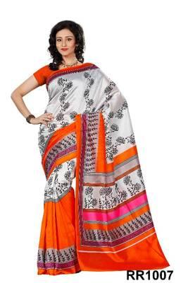 Riti Riwaz white-orange art silk saree with unstitched blouse RR1007