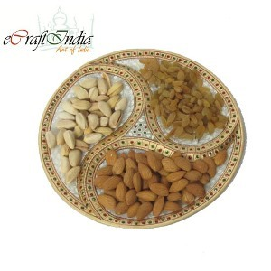 eCraftIndia Gold Colored Dry-Fruit Plate