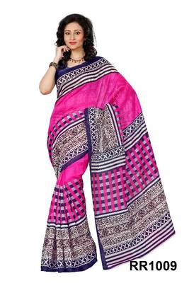 Riti Riwaz pink art silk saree with unstitched blouse RR1009