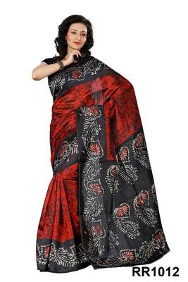 Riti Riwaz red art silk saree with unstitched blouse RR1012