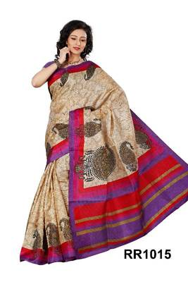 Riti Riwaz beige art silk saree with unstitched blouse RR1015
