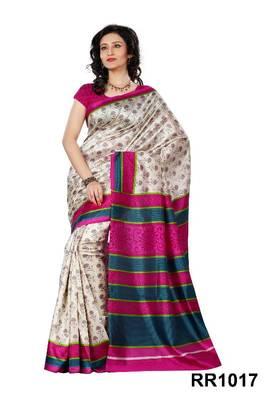 Riti Riwaz pink art silk saree with unstitched blouse RR1017