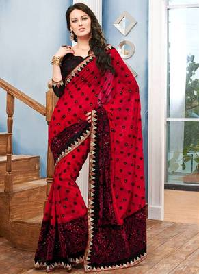 Valehri Georgette red designer embroidery saree with unstiched blouse