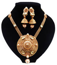 Buy Gold plated long round pendent necklace necklace-set online