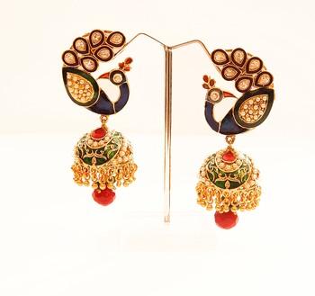Peacock Motif Jhumka Earrings