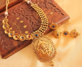 Divine Antique Blue  Red Lakshmi Necklace Set
