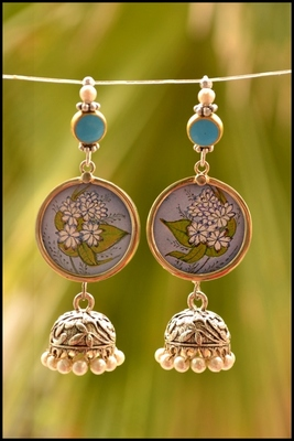 Pretty fluire handpainted dangler jhumka earrings