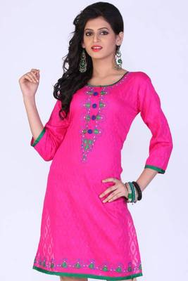 Persian-rose Pink Cotton Embroidered Party and Festival Kurti
