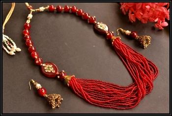 Grand kundan meenakari Semi - Precious Silver plated necklace set